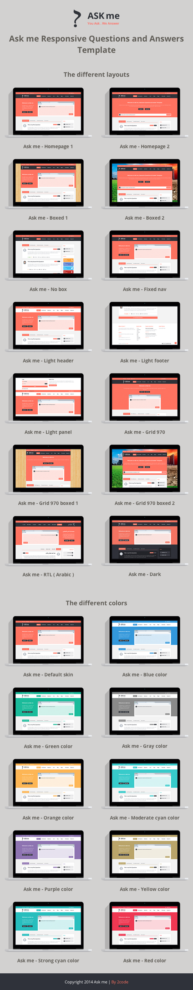 ask me responsive questions and answers template by 2codethemes