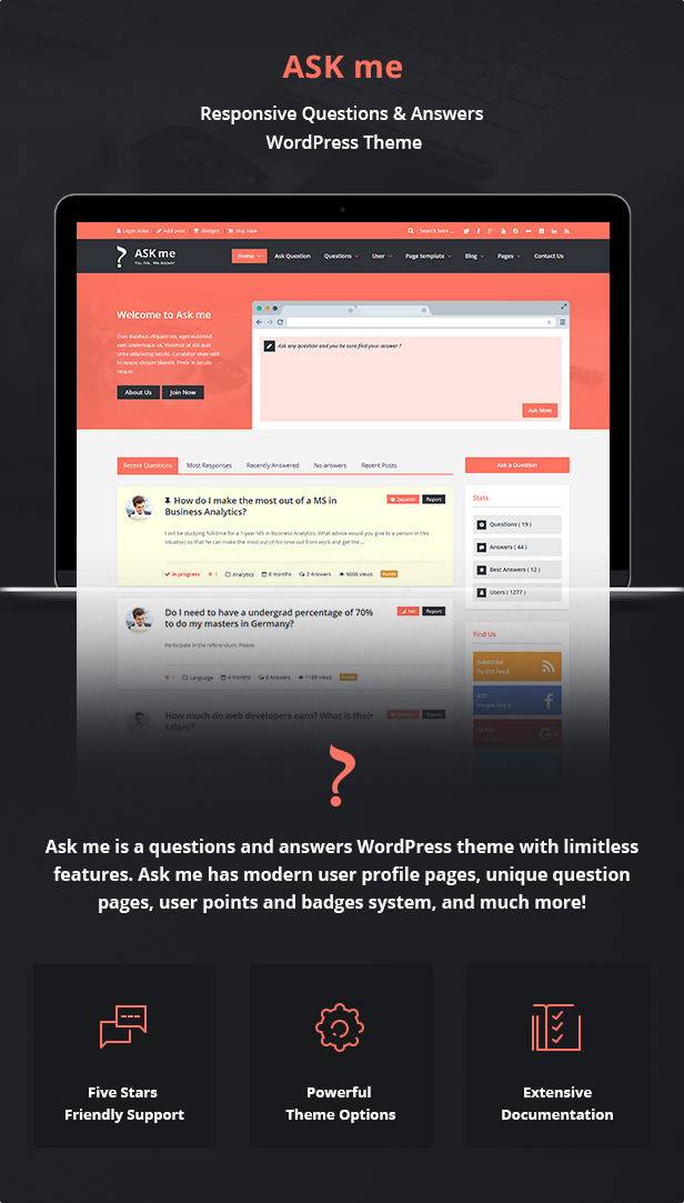 Ask Me - Responsive Questions & Answers WordPress Download